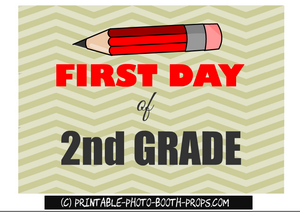 First day of second grade, free printable sign