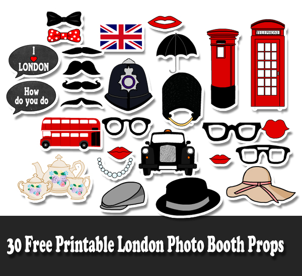 30 Free Printable London Photo Booth Props