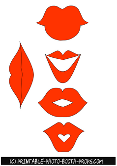 Free Printable Orange Lips Props