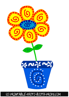 Free Printable Colorful Flower in a Pot Prop