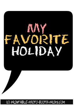 Free Printable 'My Favorite Holiday' Prop