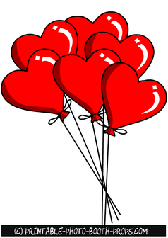 Red Hearts Balloons Props