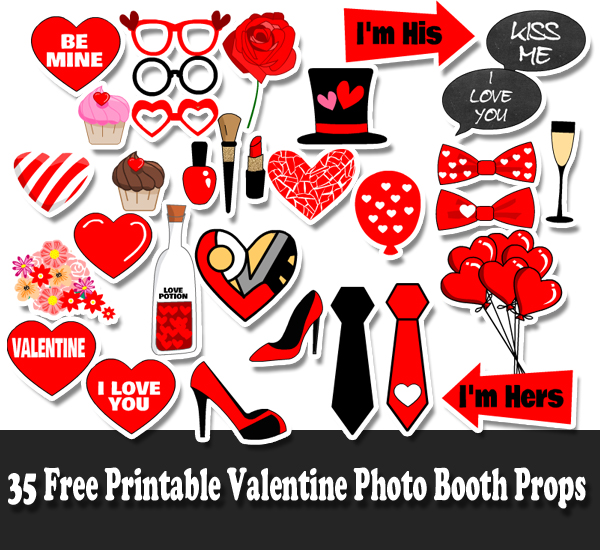 35 Free Printable Valentine Photo Booth Props