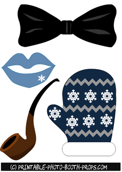 Bow Tie, Lips, Mitt and Pipe Props Printable