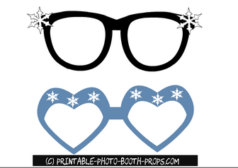 Free Printable Winter Glasses Props for Photo Booth