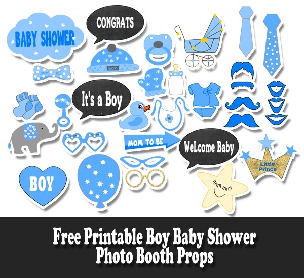 Free Printable Boy Baby Shower Photo Booth Props