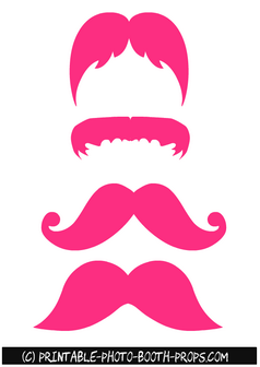 Free Printable Pink Moustaches Photo Booth Props