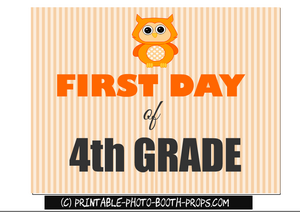 First day of fourth grade prop for photo booth