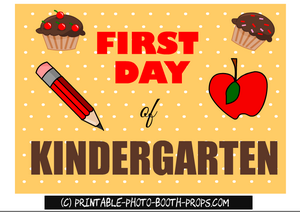 First day of kindergarten free printable photo prop