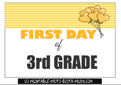 First day of third grade printable prop