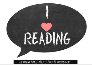 Free printable I heart reading prop for school