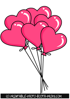 free printable heart shaped balloons props