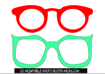 Free Printable Red and Green Glasses Props