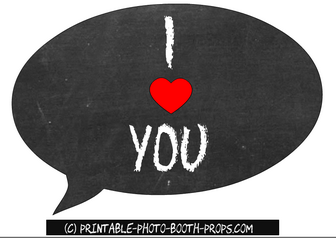 Free Printable I Heart You Speech Bubble