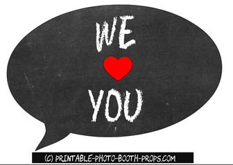 Free Printable We Heart You Speech Bubble Prop