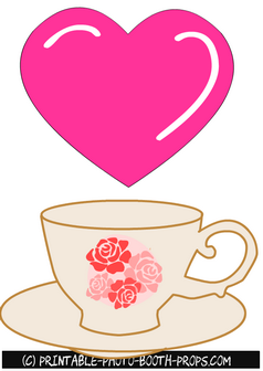 Free Printable Heart and Tea Cup Props