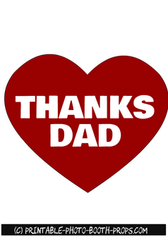 Free Printable Thanks Dad Heart Prop