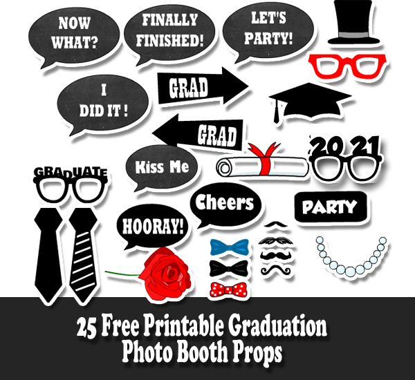 image regarding Free Printable Graduation Party Games known as Cost-free Printable Commencement Photograph Booth Props