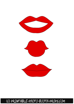 Red Lips Free Printable Props