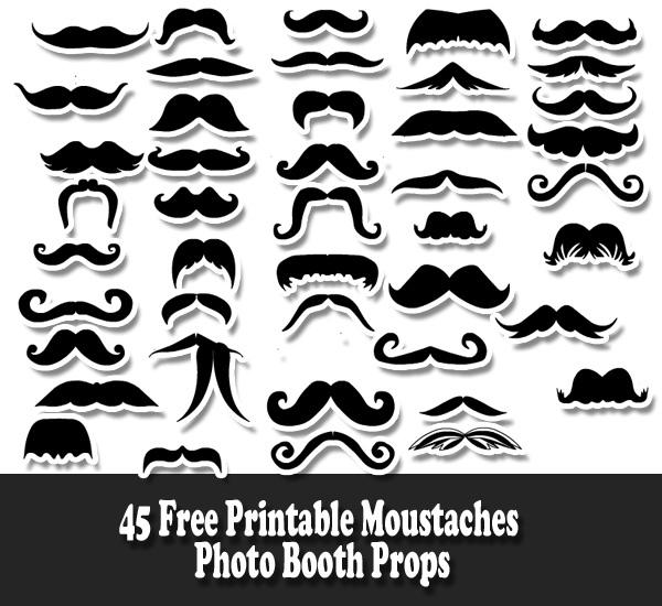 45 Moustaches Photo Booth Props Printable