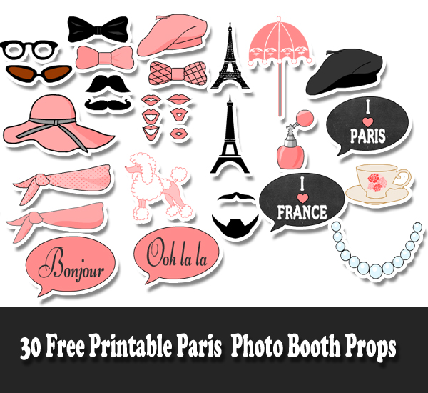 30 free printable paris photo booth props