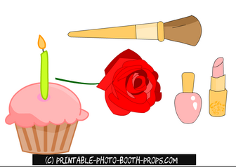 Free Printable Cupcake, Rose and Makeup Props