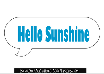 Hello Sunshine Speech Bubble