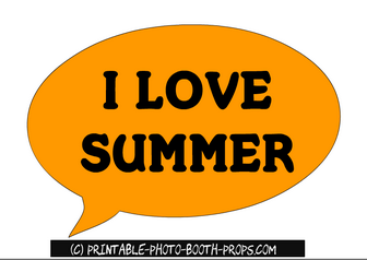 I Love Summer Speech Bubble