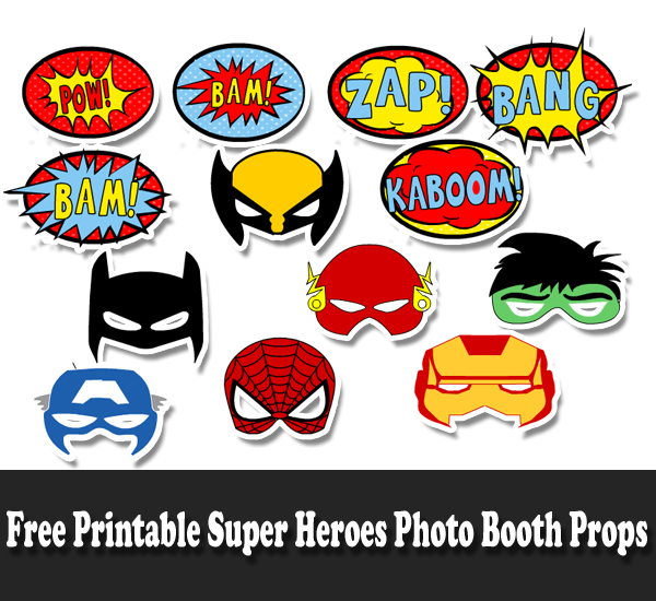Free Printable Super Heroes Kids Photo Booth Props