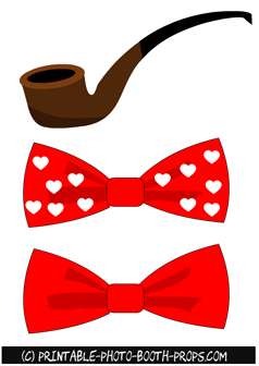 Pipe and Bow Ties Props for Valentine