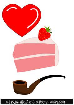 Heart, Cake and Pipe Props